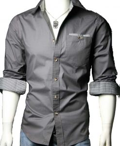 Dark Grey Casual Cotton Shirt with black and white checks