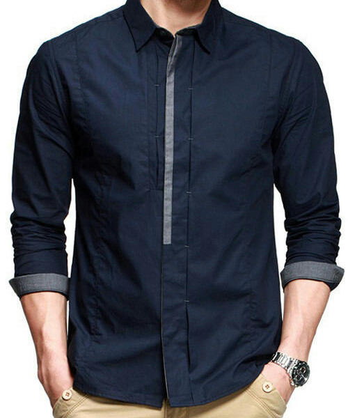 Navy Blue Casual Cotton Shirt with Design Collar