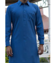 Shalwar Kameez Royal-Blue Wash n Wear Shirt Collar