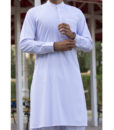 Shalwar Kameez Sky-Blue Wash n Wear Ban Collar