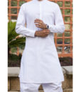 Shalwar Kameez White Cotton Band Collar