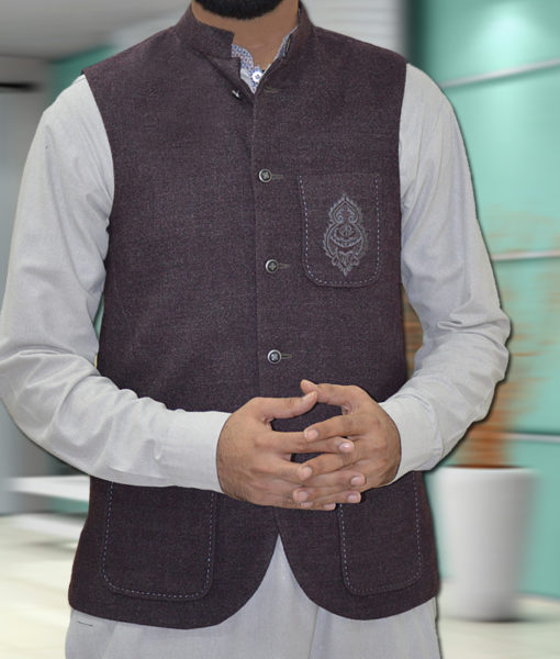 Khaddar Waist Coat Black